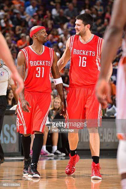 Jason Terry and Kostas Papanikolaou of the Houston Rocketsduring the game against the Phoenix Suns on February 10 2015 at US Airways Center in...