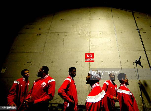 Jason Terry and Nick Johnson of the Houston Rockets stand in the tunnel before taking on the Golden State Warriors during game five of the Western...