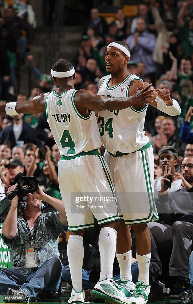 <a gi-track='captionPersonalityLinkClicked' href=/galleries/search?phrase=Jason+Terry&family=editorial&specificpeople=201734 ng-click='$event.stopPropagation()'>Jason Terry</a> #4 and <a gi-track='captionPersonalityLinkClicked' href=/galleries/search?phrase=Paul+Pierce&family=editorial&specificpeople=201562 ng-click='$event.stopPropagation()'>Paul Pierce</a> #34 of the Boston Celtics chest bump after a play against the Washington Wizards on November 7, 2012 at the TD Garden in Boston, Massachusetts.