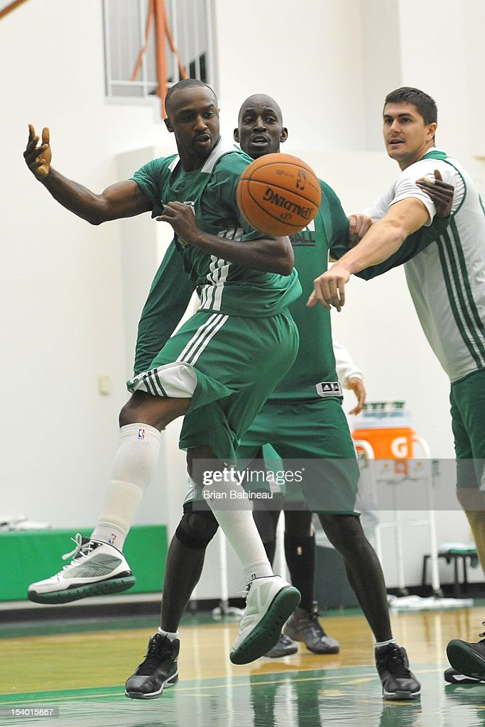 Jason Terry, Kevin Garnett and Darko Milicic of the Boston Celtics practice on October 12, 2012 at the Training Center at Healthpoint in Waltham, Massachusetts.