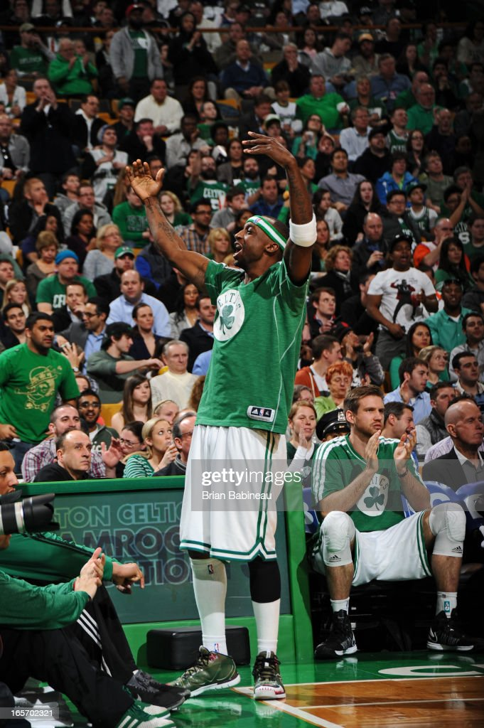 <a gi-track='captionPersonalityLinkClicked' href=/galleries/search?phrase=Jason+Terry&family=editorial&specificpeople=201734 ng-click='$event.stopPropagation()'>Jason Terry</a> #4 of the Boston Celtics celebrates a play from the bench during the game against the New York Knicks on March 26, 2013 at the TD Garden in Boston, Massachusetts.