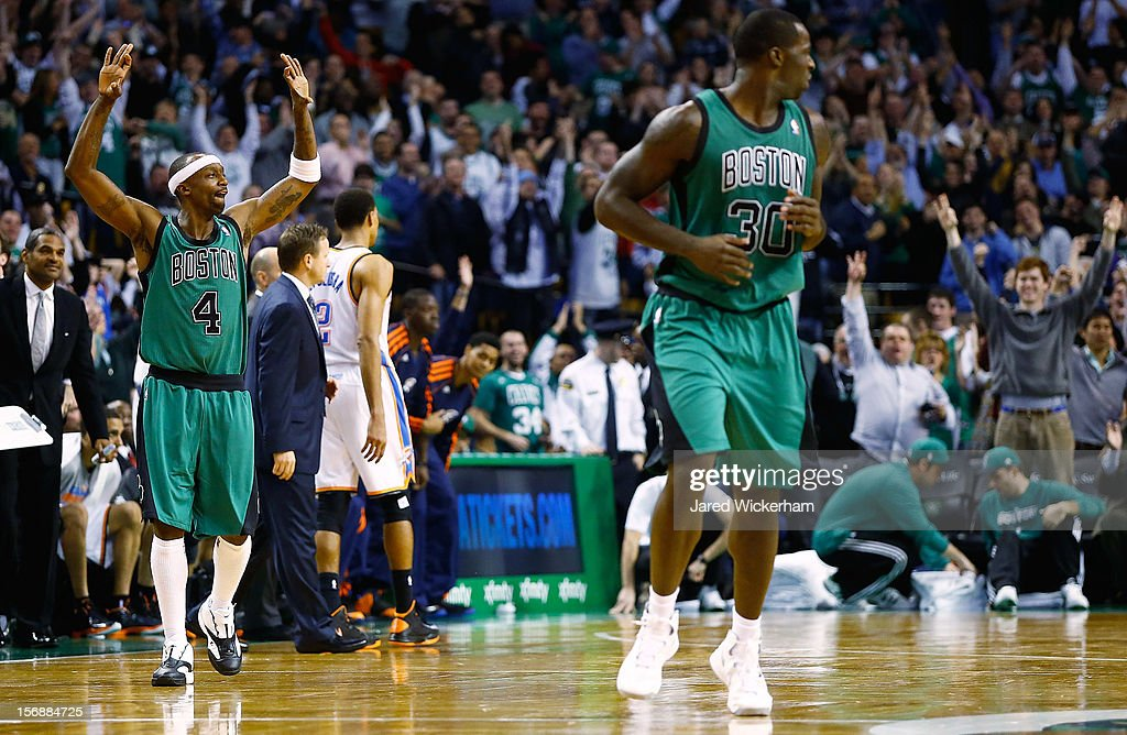 Jason Terry #4 of the Boston Celtics celebrates after making a three-point shot against the Oklahoma City Thunder during the game on November 23, 2012 at TD Garden in Boston, Massachusetts.