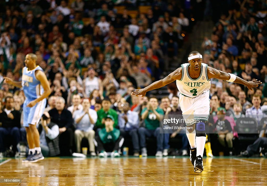 <a gi-track='captionPersonalityLinkClicked' href=/galleries/search?phrase=Jason+Terry&family=editorial&specificpeople=201734 ng-click='$event.stopPropagation()'>Jason Terry</a> #4 of the Boston Celtics celebrates after making a three-point shot against the Denver Nuggets during the game on February 10, 2013 at TD Garden in Boston, Massachusetts.