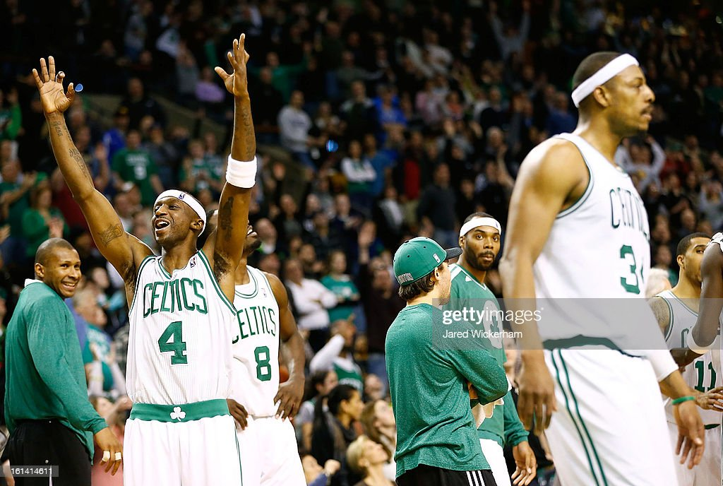 Jason Terry #4 of the Boston Celtics celebrates after Paul Pierce's three-point shot to tie the game and take it into a third overtime was confirmed by the referees against the Denver Nuggets during the game on February 10, 2013 at TD Garden in Boston, Massachusetts.