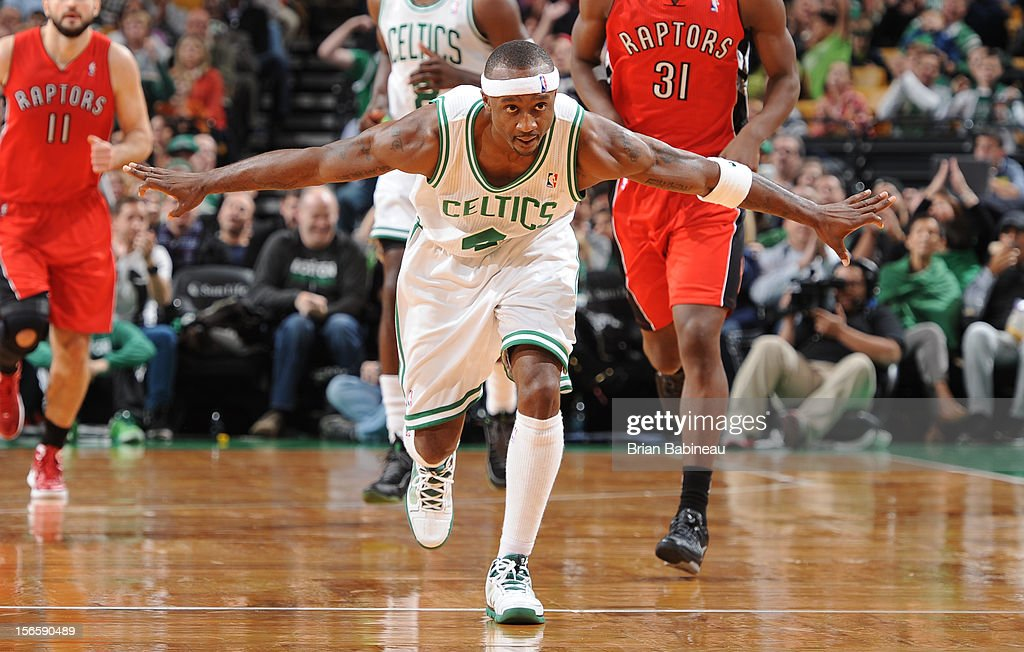 <a gi-track='captionPersonalityLinkClicked' href=/galleries/search?phrase=Jason+Terry&family=editorial&specificpeople=201734 ng-click='$event.stopPropagation()'>Jason Terry</a> #4 of the Boston Celtics celebrates during the game against the Toronto Raptors on November 17, 2012 at the TD Garden in Boston, Massachusetts.