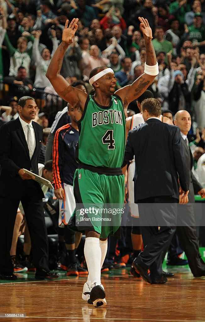 <a gi-track='captionPersonalityLinkClicked' href=/galleries/search?phrase=Jason+Terry&family=editorial&specificpeople=201734 ng-click='$event.stopPropagation()'>Jason Terry</a> #4 of the Boston Celtics celebrates during the game against the Oklahoma City Thunder on November 23, 2012 at the TD Garden in Boston, Massachusetts.