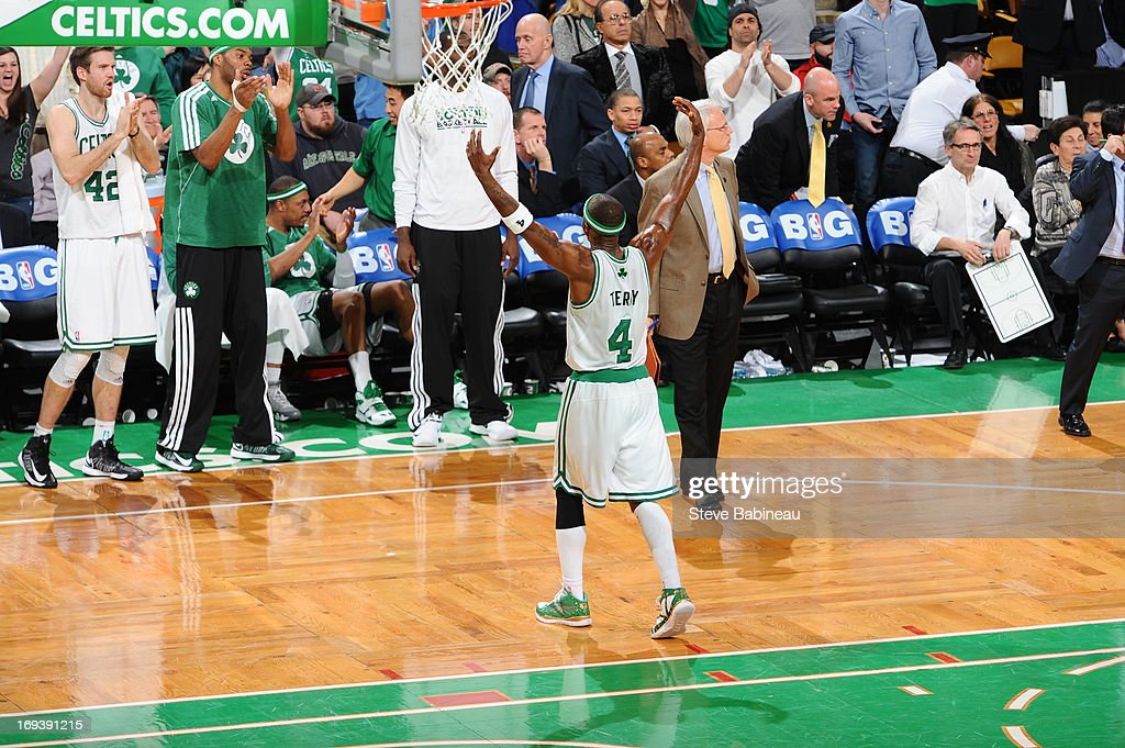 <a gi-track='captionPersonalityLinkClicked' href=/galleries/search?phrase=Jason+Terry&family=editorial&specificpeople=201734 ng-click='$event.stopPropagation()'>Jason Terry</a> #4 of the Boston Celtics celebrates during the game against the Brooklyn Nets on April 10, 2013 at the TD Garden in Boston, Massachusetts.