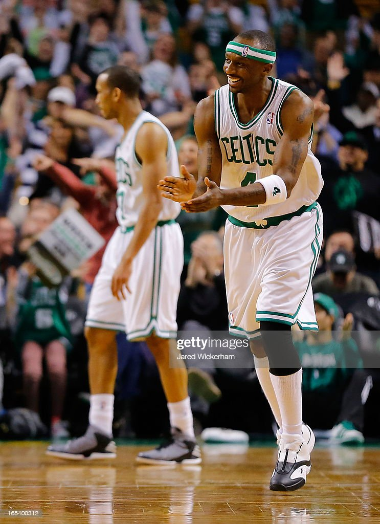 Jason Terry #4 of the Boston Celtics celebrates following teammate Jeff Green's score in the second half against the Detroit Pistons during the game on April 3, 2013 at TD Garden in Boston, Massachusetts.