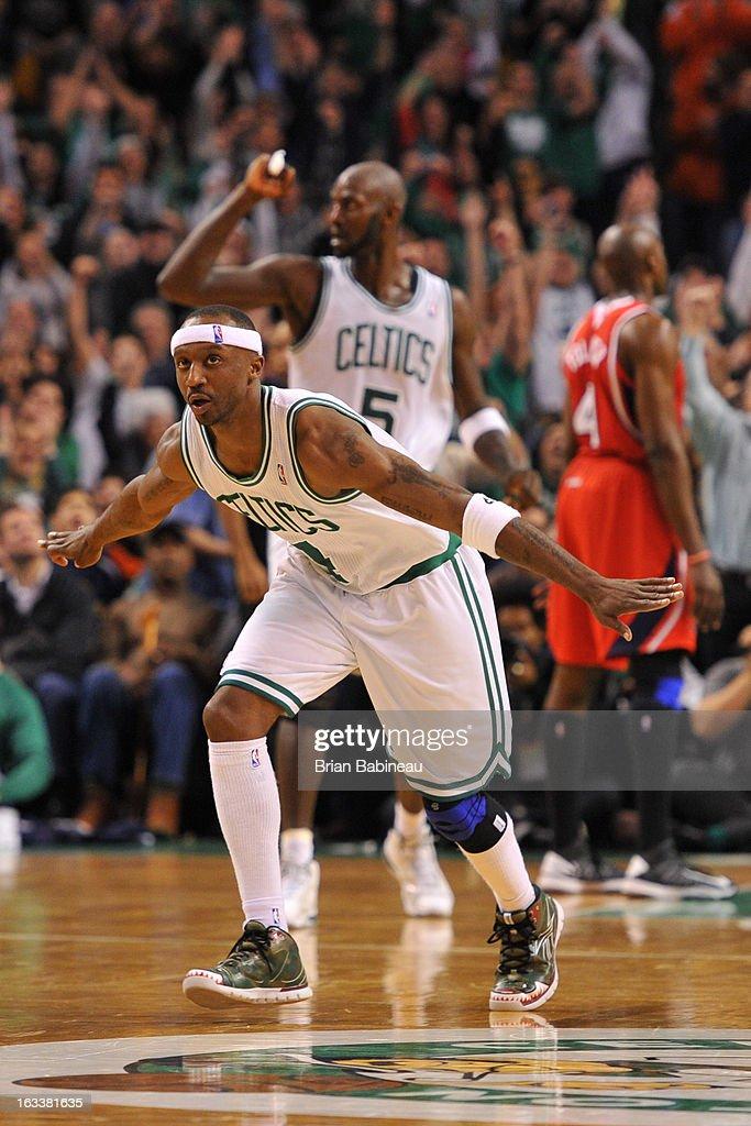 Jason Terry #4 of the Boston Celtics celebrates his game winning shot against the Atlanta Hawks on March 8, 2013 at the TD Garden in Boston, Massachusetts.