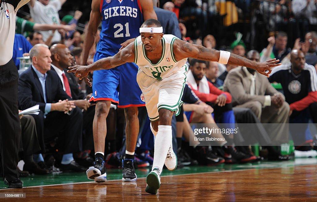 Jason Terry #4 of the Boston Celtics does the 'Jet' against the Philadelphia 76ers on November 9, 2012 at the TD Garden in Boston, Massachusetts.