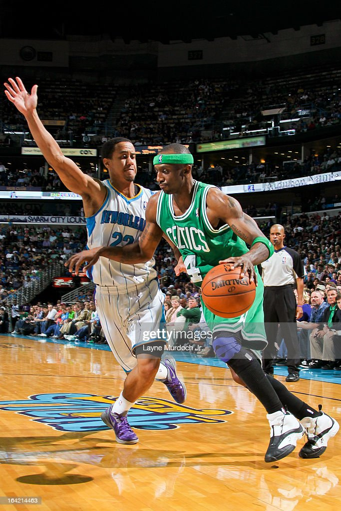 Jason Terry #4 of the Boston Celtics drives against Brian Roberts #22 of the New Orleans Hornets on March 20, 2013 at the New Orleans Arena in New Orleans, Louisiana.