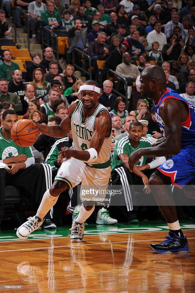 Jason Terry #4 of the Boston Celtics drives against Jason Richardson #23 of the Philadelphia 76ers on December 8, 2012 at the TD Garden in Boston, Massachusetts.