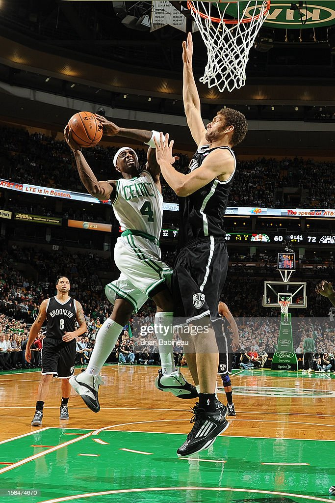 Jason Terry #4 of the Boston Celtics drives to the basket against Brook Lopez #11 of the Brooklyn Nets on November 28, 2012 at the TD Garden in Boston, Massachusetts.
