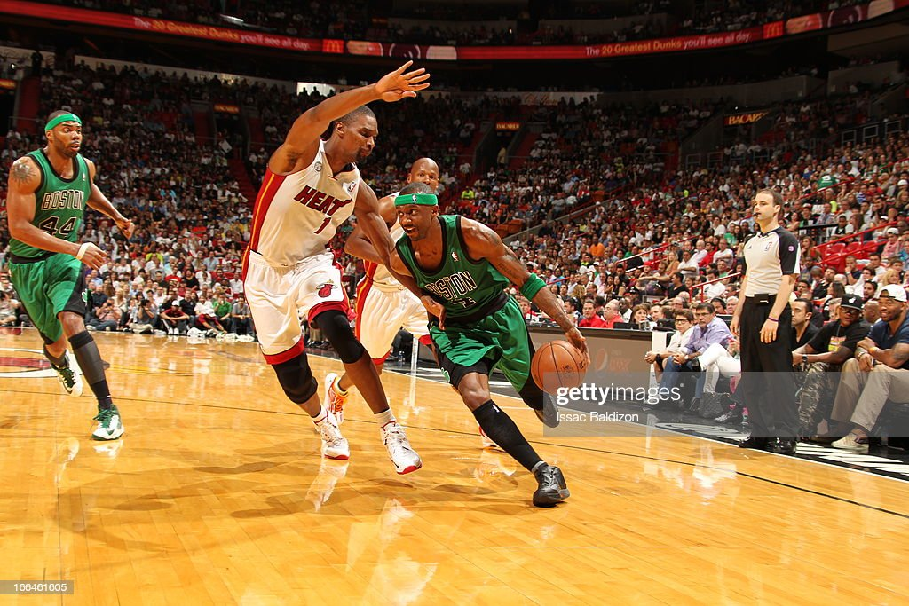 <a gi-track='captionPersonalityLinkClicked' href=/galleries/search?phrase=Jason+Terry&family=editorial&specificpeople=201734 ng-click='$event.stopPropagation()'>Jason Terry</a> #4 of the Boston Celtics drives to the basket against <a gi-track='captionPersonalityLinkClicked' href=/galleries/search?phrase=Chris+Bosh&family=editorial&specificpeople=201574 ng-click='$event.stopPropagation()'>Chris Bosh</a> #1 of the Miami Heat on April 12, 2013 at American Airlines Arena in Miami, Florida.