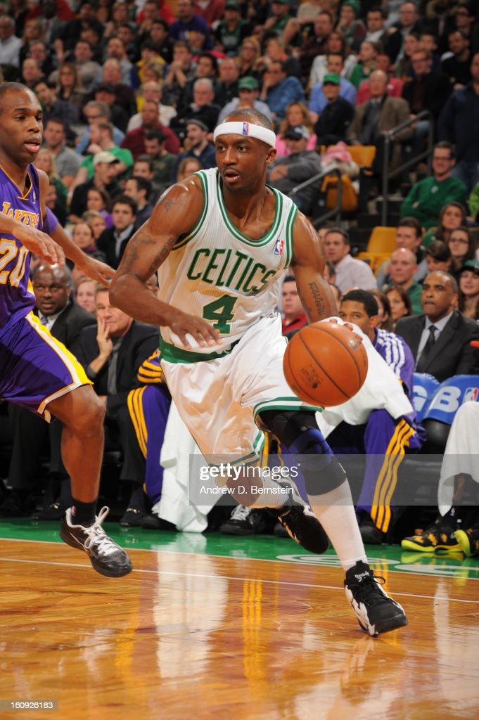 Jason Terry #4 of the Boston Celtics drives to the basket against Jodie Meeks #20 of the Los Angeles Lakers on February 7, 2013 at the TD Garden in Boston, Massachusetts.