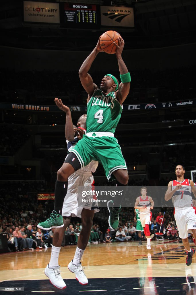 Jason Terry #4 of the Boston Celtics drives to the basket against the Washington Wizards at the Verizon Center on November 3, 2012 in Washington, DC.