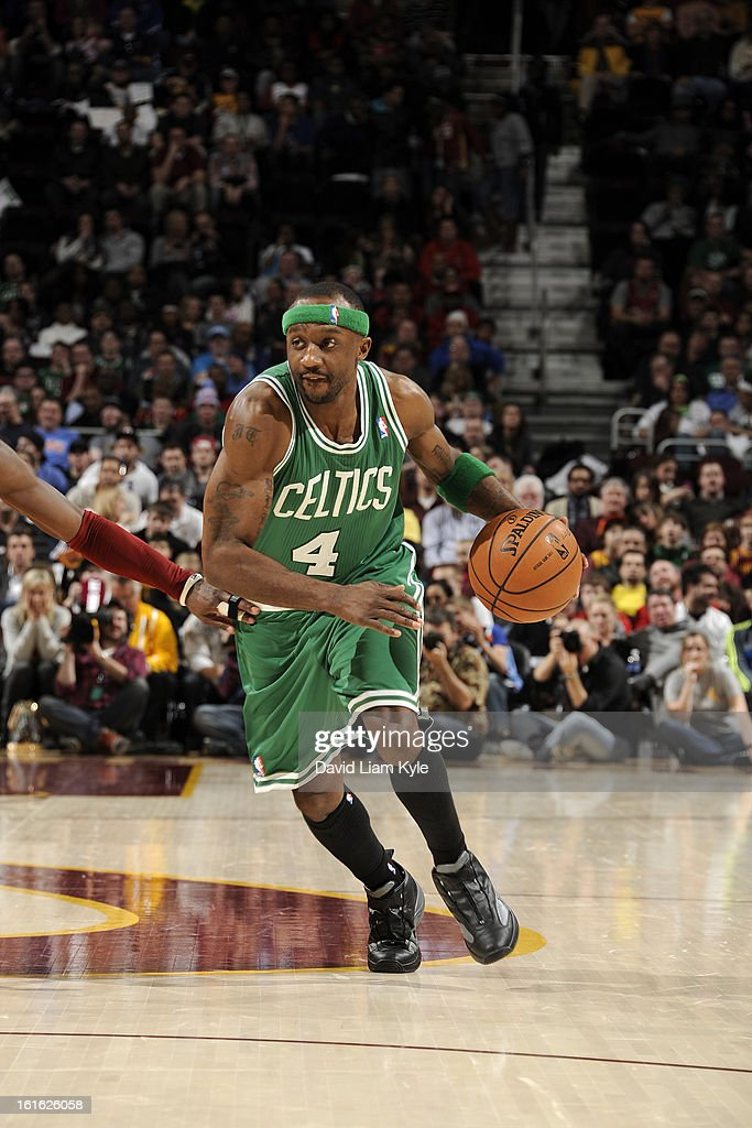 Jason Terry #4 of the Boston Celtics drives to the basket against the Cleveland Cavaliers at The Quicken Loans Arena on January 22, 2013 in Cleveland, Ohio.