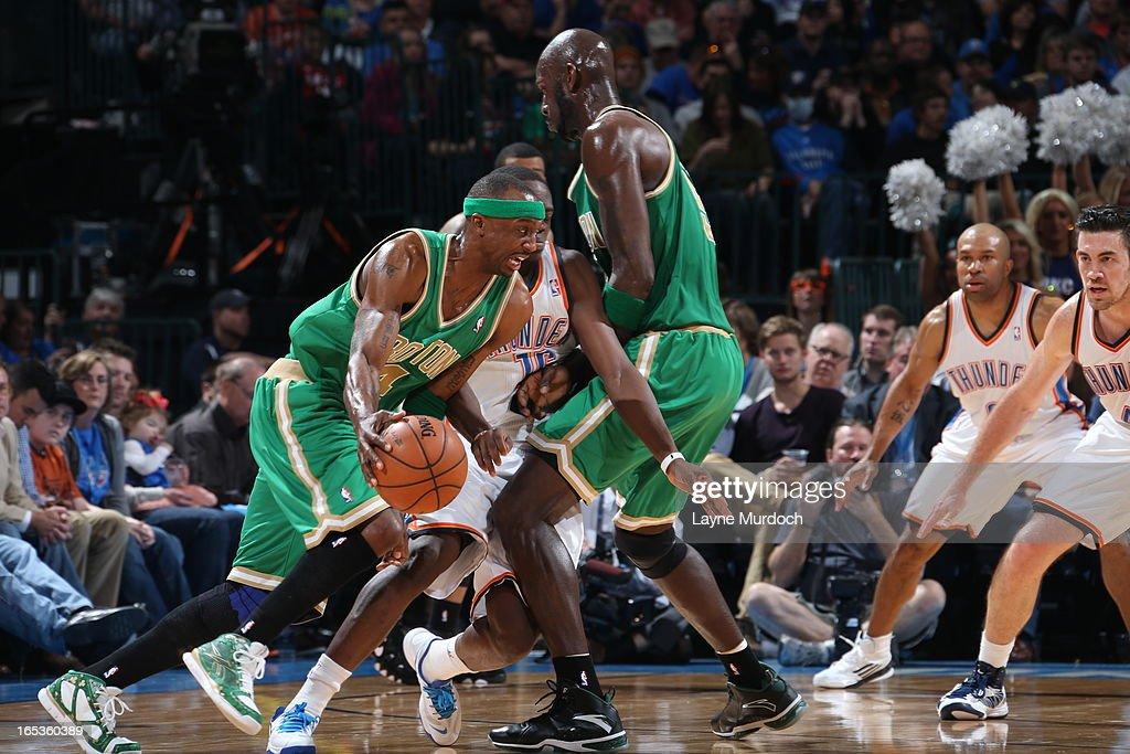 Jason Terry #4 of the Boston Celtics drives to the basket against the Oklahoma City Thunder on March 10, 2013 at the Chesapeake Energy Arena in Oklahoma City, Oklahoma.