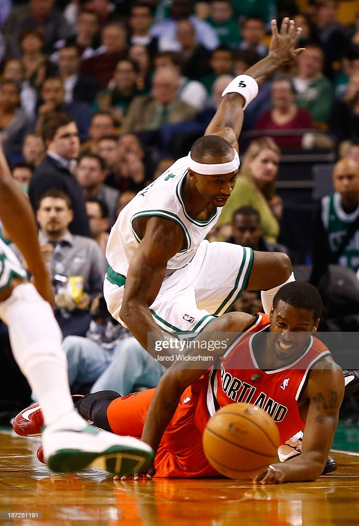 Jason Terry #4 of the Boston Celtics fights for possession of the ball with Wesley Matthews #2 of the Portland Trail Blazers during the game on November 30, 2012 at TD Garden in Boston, Massachusetts.
