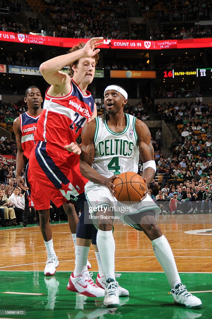 Jason Terry #4 of the Boston Celtics goes to the basket against Jan Vesely #24 of the Washington Wizards on November 7, 2012 at the TD Garden in Boston, Massachusetts.