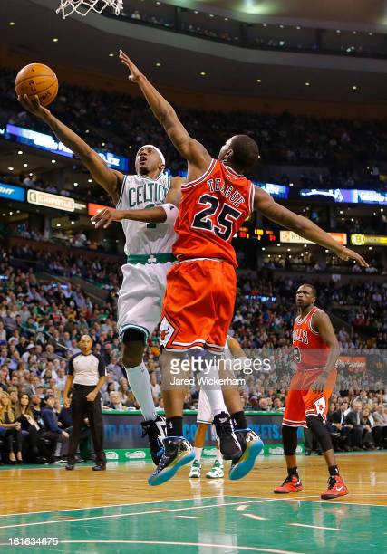 Jason Terry of the Boston Celtics goes up for a layup in front of Marquis Teague of the Chicago Bulls during the game on February 13 2013 at TD...