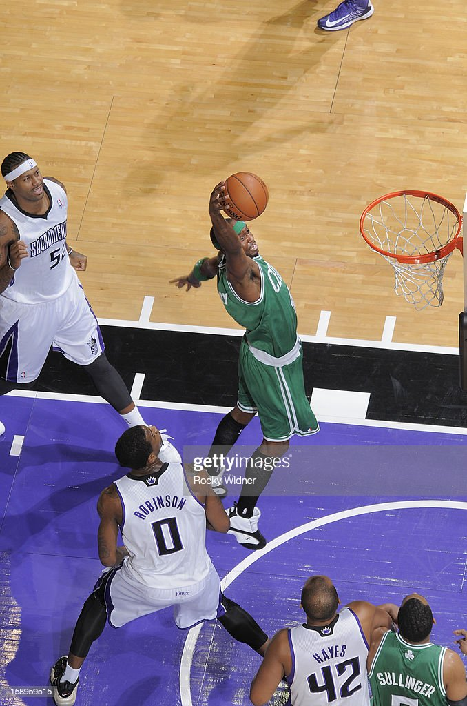Jason Terry #4 of the Boston Celtics goes up for the shot against Thomas Robinson #0 of the Sacramento Kings on December 30, 2012 at Sleep Train Arena in Sacramento, California.
