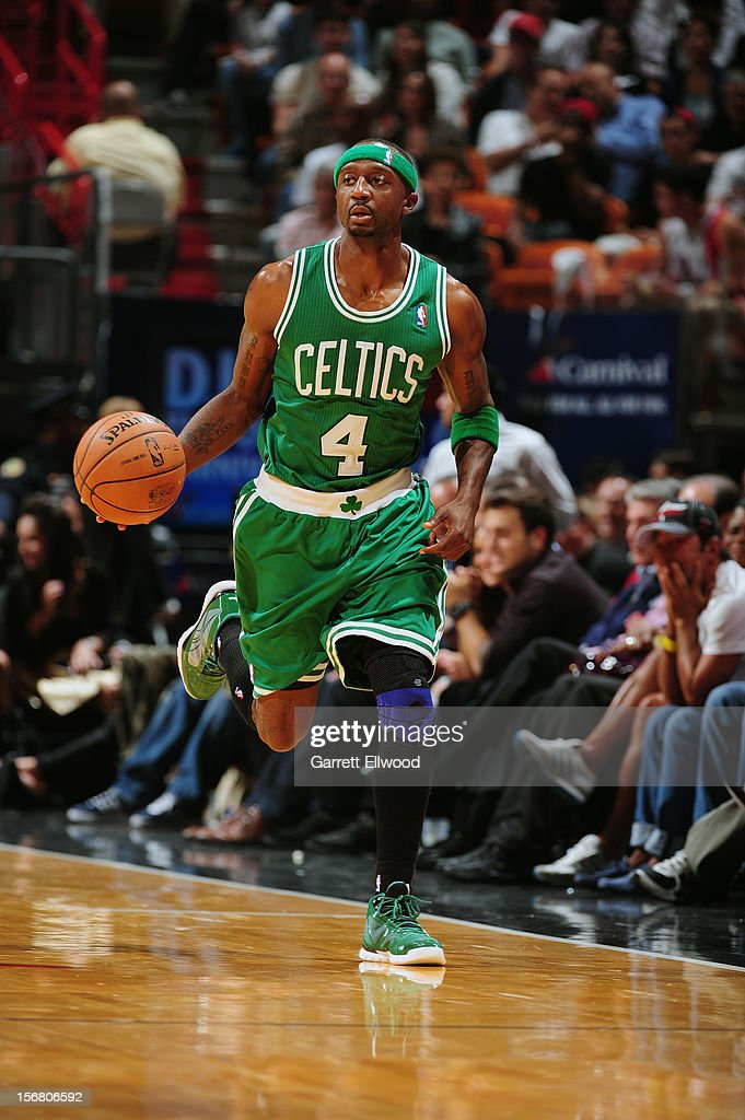 <a gi-track='captionPersonalityLinkClicked' href=/galleries/search?phrase=Jason+Terry&family=editorial&specificpeople=201734 ng-click='$event.stopPropagation()'>Jason Terry</a> #4 of the Boston Celtics handles the ball against the Miami Heat on October 30, 2012 at American Airlines Arena in Miami, Florida.
