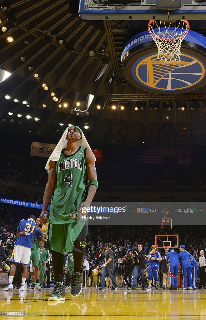 Jason Terry #4 of the Boston Celtics heads to the locker room after losing to the Golden State Warriors on December 29, 2012 at Oracle Arena in Oakland, California.
