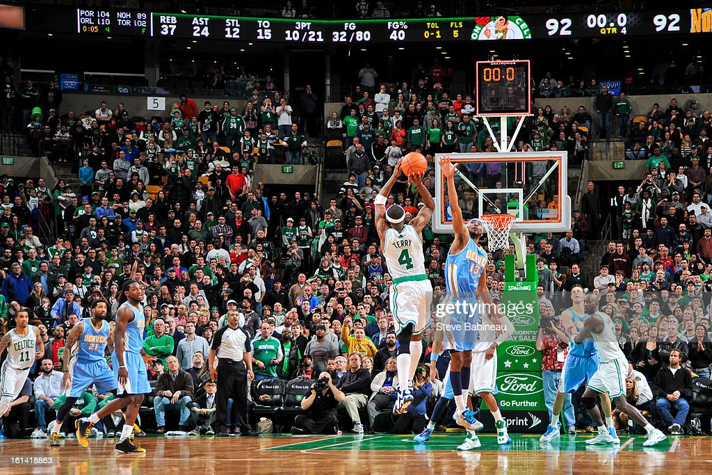 Jason Terry #4 of the Boston Celtics misses a game-winning shot at the end of regulation against the Denver Nuggets on February 10, 2013 at the TD Garden in Boston, Massachusetts.