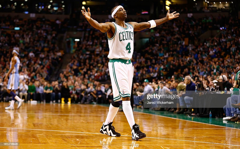 Jason Terry #4 of the Boston Celtics reacts following a score against the Denver Nuggets in the second half during the game on February 10, 2013 at TD Garden in Boston, Massachusetts.