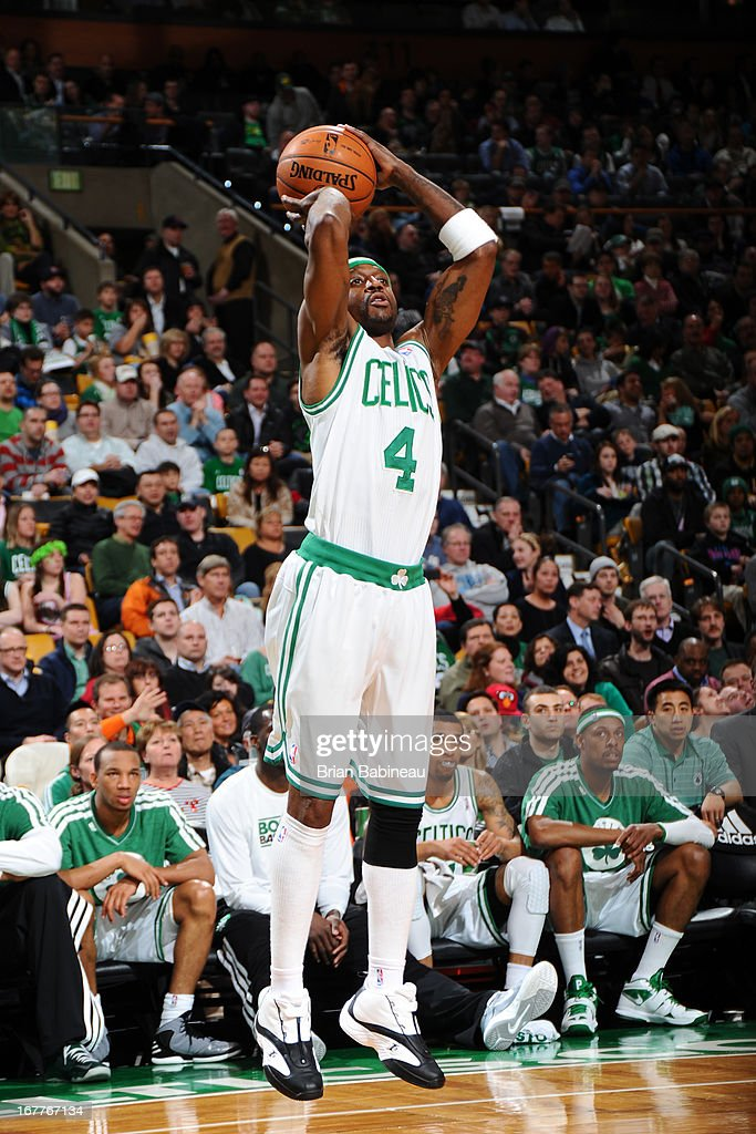 Jason Terry #4 of the Boston Celtics shoots a jumper against the Detroit Pistons on April 3, 2013 at the TD Garden in Boston, Massachusetts.