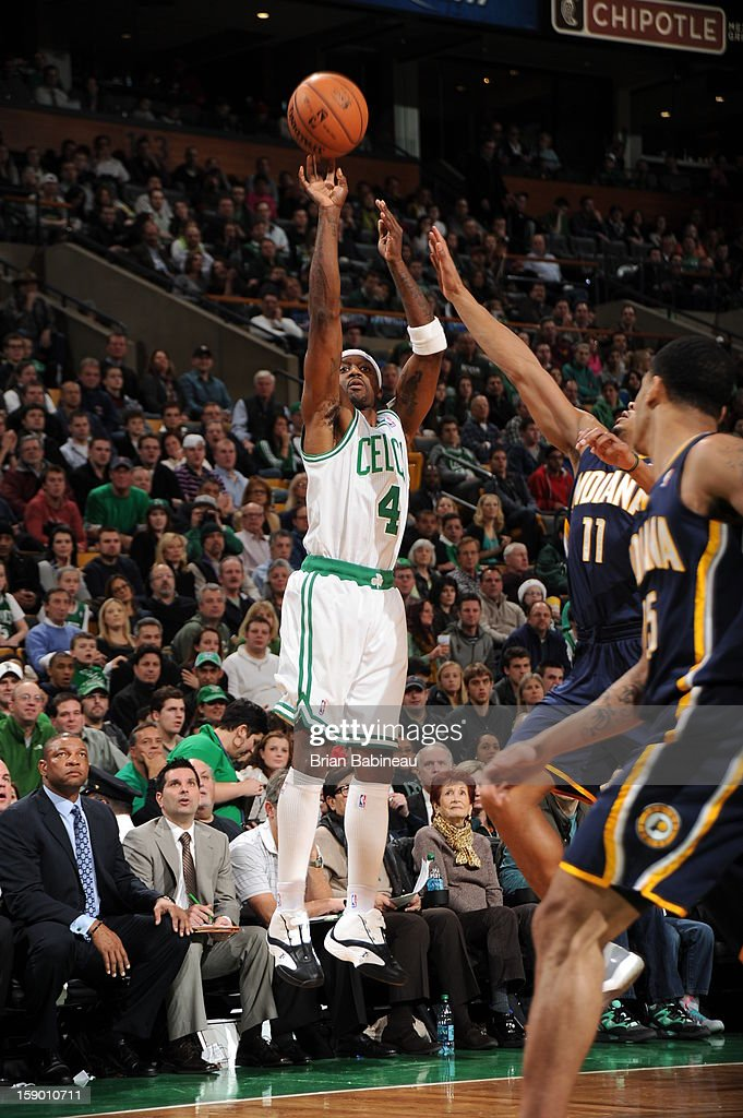 <a gi-track='captionPersonalityLinkClicked' href=/galleries/search?phrase=Jason+Terry&family=editorial&specificpeople=201734 ng-click='$event.stopPropagation()'>Jason Terry</a> #4 of the Boston Celtics shoots against <a gi-track='captionPersonalityLinkClicked' href=/galleries/search?phrase=Orlando+Johnson&family=editorial&specificpeople=6849358 ng-click='$event.stopPropagation()'>Orlando Johnson</a> #11 of the Indiana Pacers on January 4, 2013 at the TD Garden in Boston, Massachusetts.