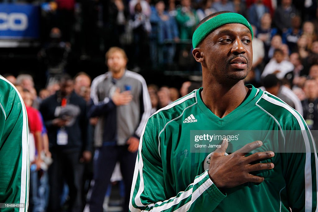 <a gi-track='captionPersonalityLinkClicked' href=/galleries/search?phrase=Jason+Terry&family=editorial&specificpeople=201734 ng-click='$event.stopPropagation()'>Jason Terry</a> #4 of the Boston Celtics stands on the sideline before the game against the Dallas Mavericks on March 22, 2013 at the American Airlines Center in Dallas, Texas.