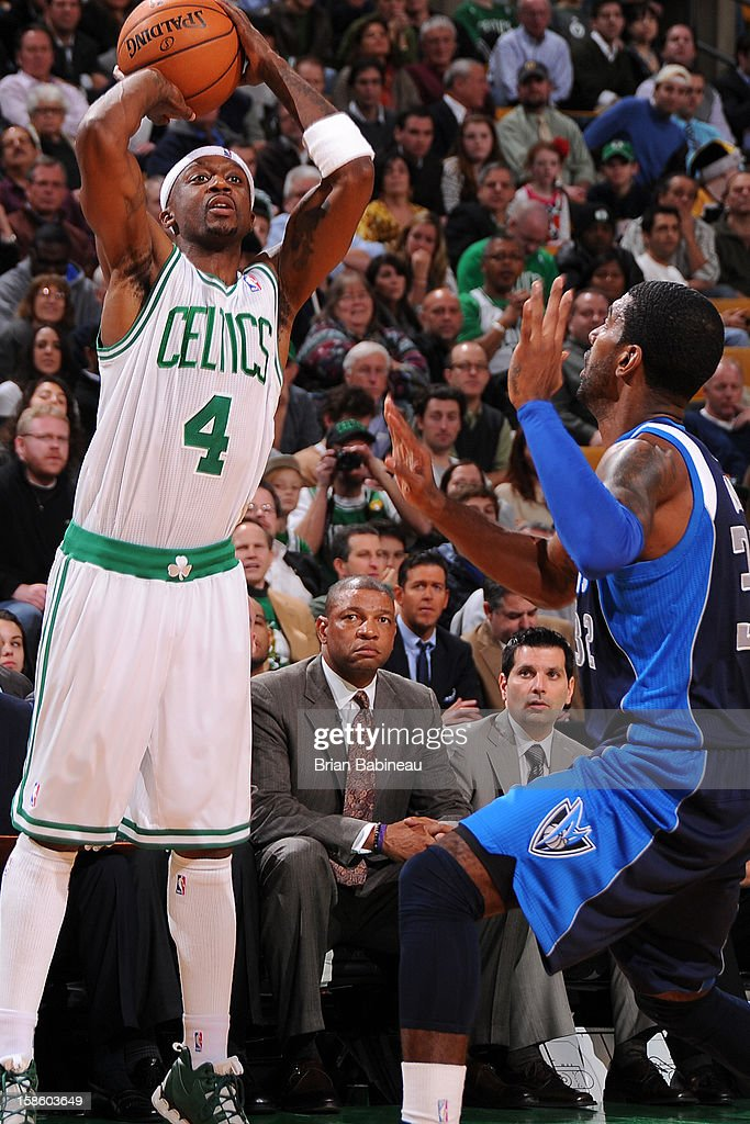 Jason Terry #4 of the Boston Celtics takes a shot against the Dallas Mavericks on December 12, 2012 at the TD Garden in Boston, Massachusetts.