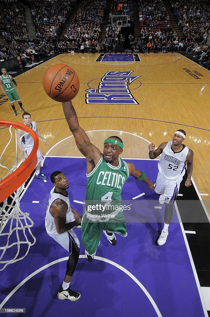 Jason Terry #4 of the Boston Celtics takes the ball to the basket against the Sacramento Kings on December 30, 2012 at Sleep Train Arena in Sacramento, California.