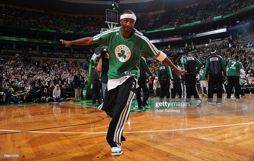 Jason Terry #4 of the Boston Celtics takes the floor during the announcements of the starting line up against the Philadelphia 76ers on December 8, 2012 at the TD Garden in Boston, Massachusetts.