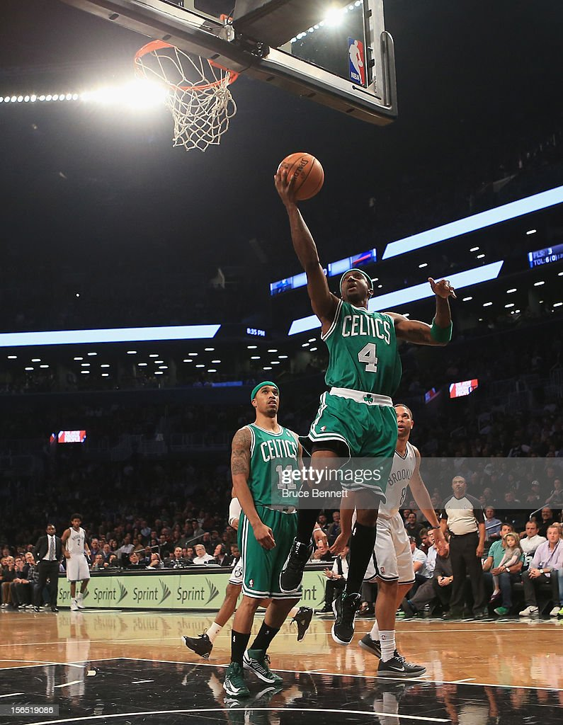Jason Terry #4 of the Boston Celtics takes the shot against the Brooklyn Nets at the Barclays Center on November 15, 2012 in the Brooklyn borough of New York City.