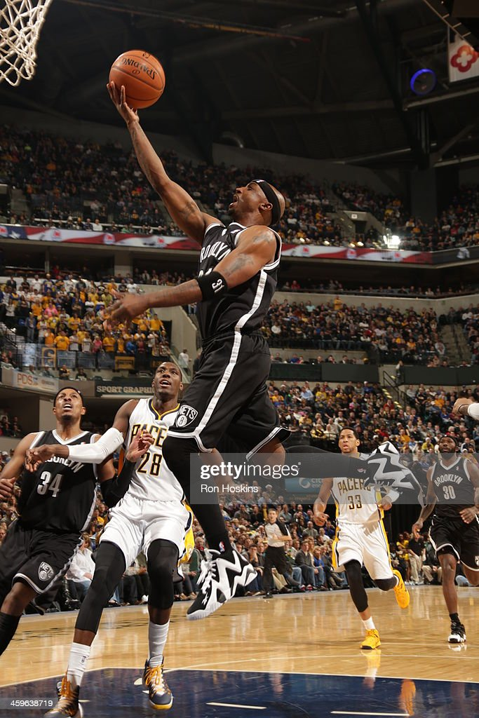 Jason Terry #31 of the Brooklyn Nets goes up for the layup against the Indiana Pacers at Bankers Life Fieldhouse on December 28, 2013 in Indianapolis, Indiana.
