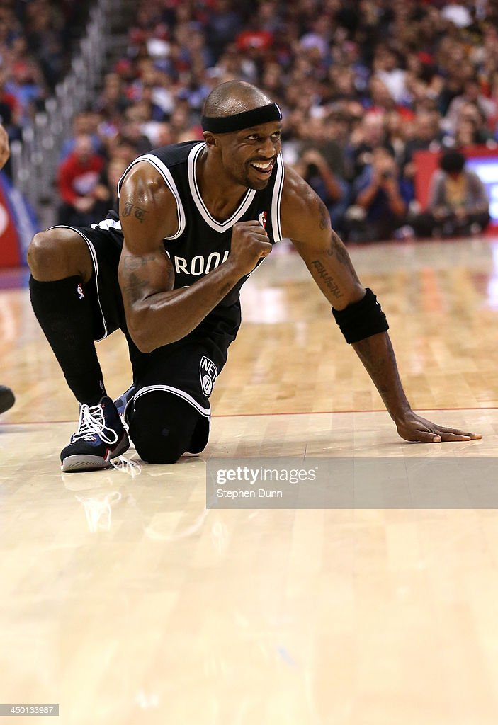 Jason Terry #31 of the Brooklyn Nets pumps his fist as he celebrates towards his bench after making a basket and picking up a foul against the Los Angeles Clippers at Staples Center on November 16, 2013 in Los Angeles, California.