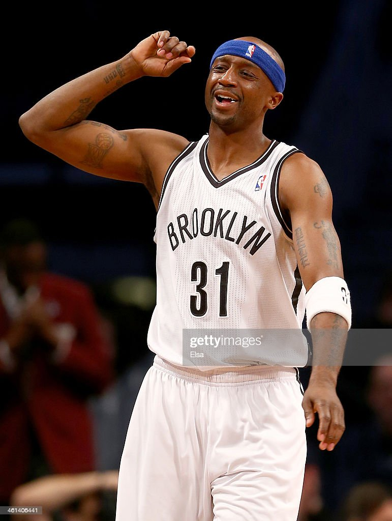 Jason Terry #31 of the Brooklyn Nets reacts to a missed shot at the end of the first quarter against the Atlanta Hawks at the Barclays Center on January 6, 2014 in the Brooklyn borough of New York City.