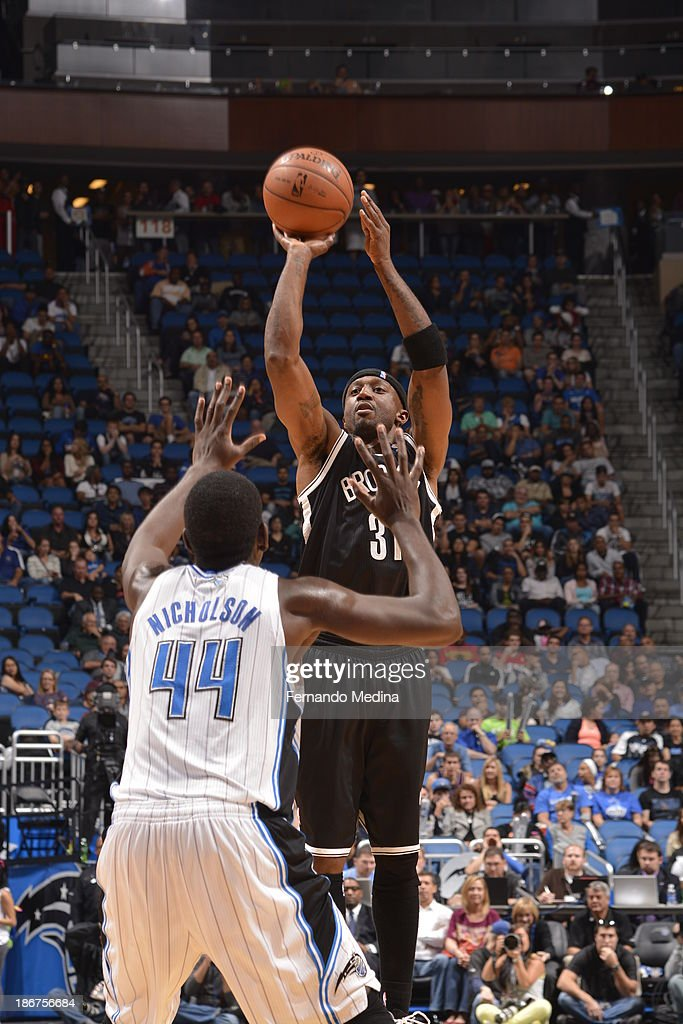 <a gi-track='captionPersonalityLinkClicked' href=/galleries/search?phrase=Jason+Terry&family=editorial&specificpeople=201734 ng-click='$event.stopPropagation()'>Jason Terry</a> #31 of the Brooklyn Nets shoots against Andrew Nicholson #44 of the Orlando Magic on November 3, 2013 at Amway Center in Orlando, Florida.