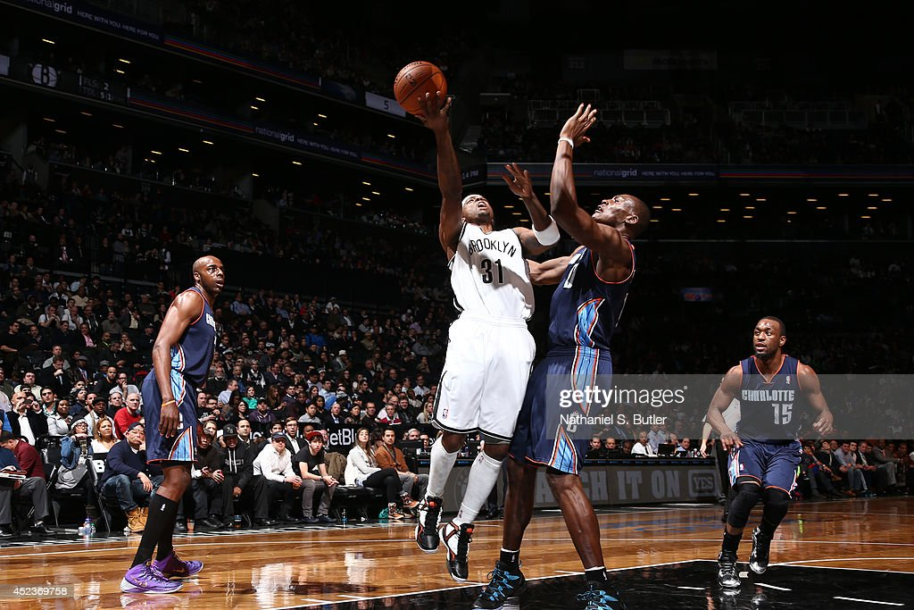 <a gi-track='captionPersonalityLinkClicked' href=/galleries/search?phrase=Jason+Terry&family=editorial&specificpeople=201734 ng-click='$event.stopPropagation()'>Jason Terry</a> #31 of the Brooklyn Nets shoots against the Charlotte Bobcats at the Barclays Center on February 12, 2014 in the Brooklyn borough of New York City.