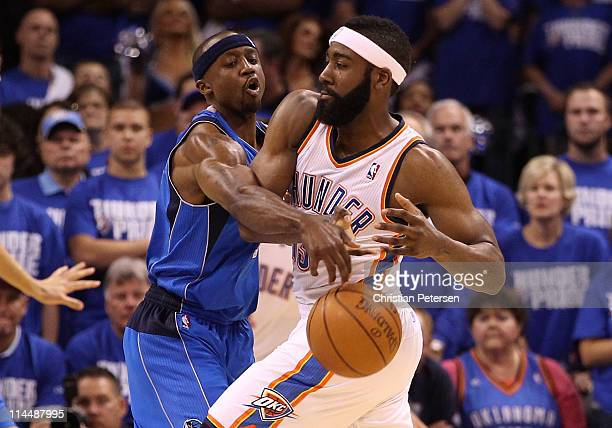 Jason Terry of the Dallas Mavericks attempts to steal the ball from James Harden of the Oklahoma City Thunder in the second quarter in Game Three of...