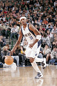 Jason Terry of the Dallas Mavericks brings the ball forward during the NBA game against the Orlando Magic on March 3 2007 at American Airlines Center...