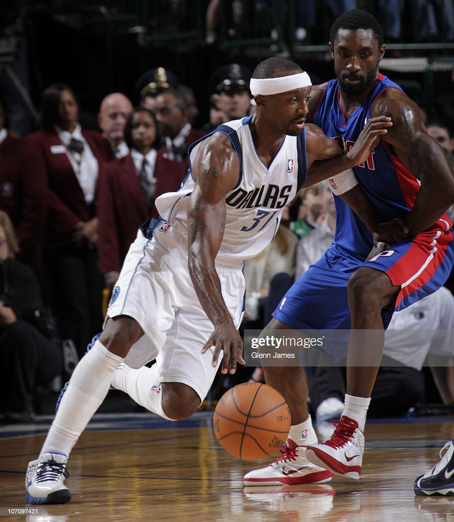 Jason Terry #31 of the Dallas Mavericks drives against Ben Gordon #7 of the Detroit Pistons during a game on November 23, 2010 at the American Airlines Center in Dallas, Texas.