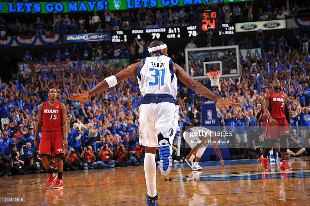 <a gi-track='captionPersonalityLinkClicked' href=/galleries/search?phrase=Jason+Terry&family=editorial&specificpeople=201734 ng-click='$event.stopPropagation()'>Jason Terry</a> #31 of the Dallas Mavericks reacts after a made shot against the Miami Heat during Game Four of the 2011 NBA Finals on June 7, 2011 at the American Airlines Center in Dallas, Texas.
