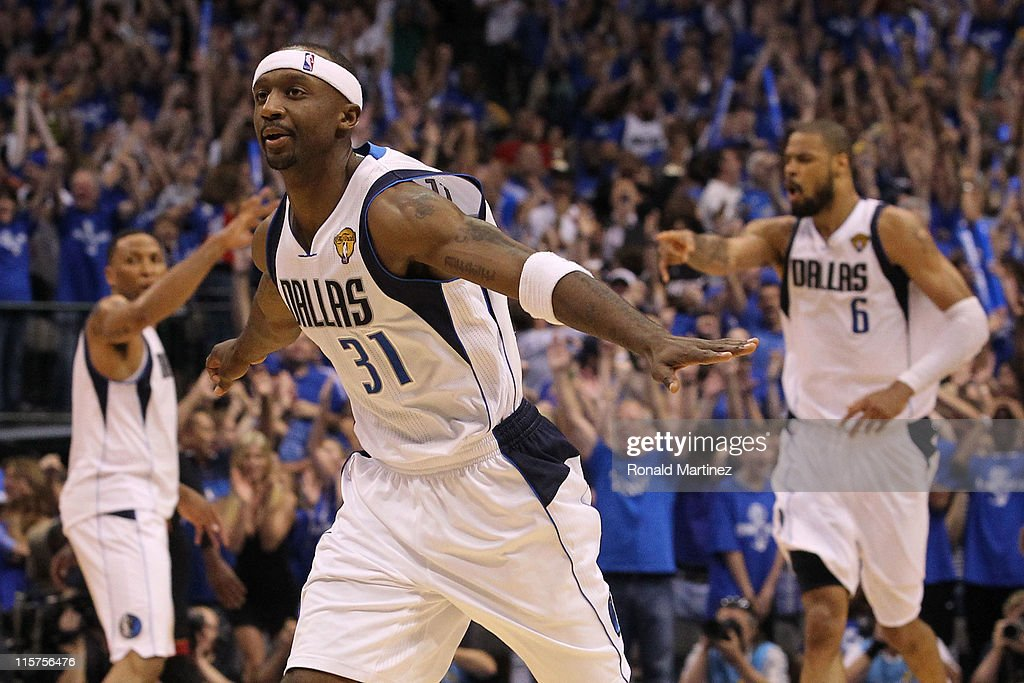 Jason Terry #31 of the Dallas Mavericks reacts after he made a 3-point shot late in the fourth quarter against the Miami Heat in Game Five of the 2011 NBA Finals at American Airlines Center on June 9, 2011 in Dallas, Texas.