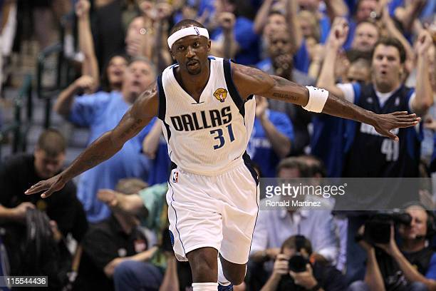 Jason Terry of the Dallas Mavericks reacts after he made a basket in the fourth quarter against the Miami Heat in Game Four of the 2011 NBA Finals at...