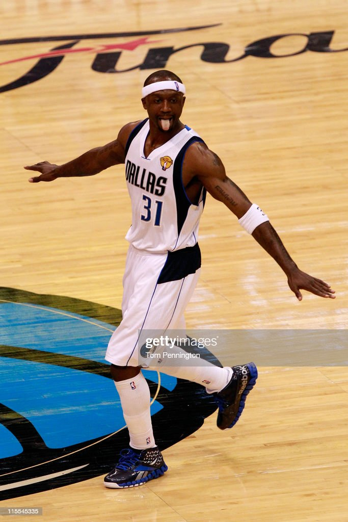 Jason Terry #31 of the Dallas Mavericks reacts after he made a basket in the fourth quarter against the Miami Heat in Game Four of the 2011 NBA Finals at American Airlines Center on June 7, 2011 in Dallas, Texas.