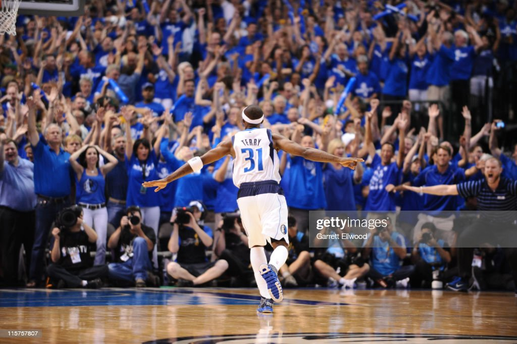 <a gi-track='captionPersonalityLinkClicked' href=/galleries/search?phrase=Jason+Terry&family=editorial&specificpeople=201734 ng-click='$event.stopPropagation()'>Jason Terry</a> #31 of the Dallas Mavericks reacts after hitting a three point shot against the Miami Heat during Game Five of the 2011 NBA Finals on June 9, 2011 at the American Airlines Center in Dallas, Texas.